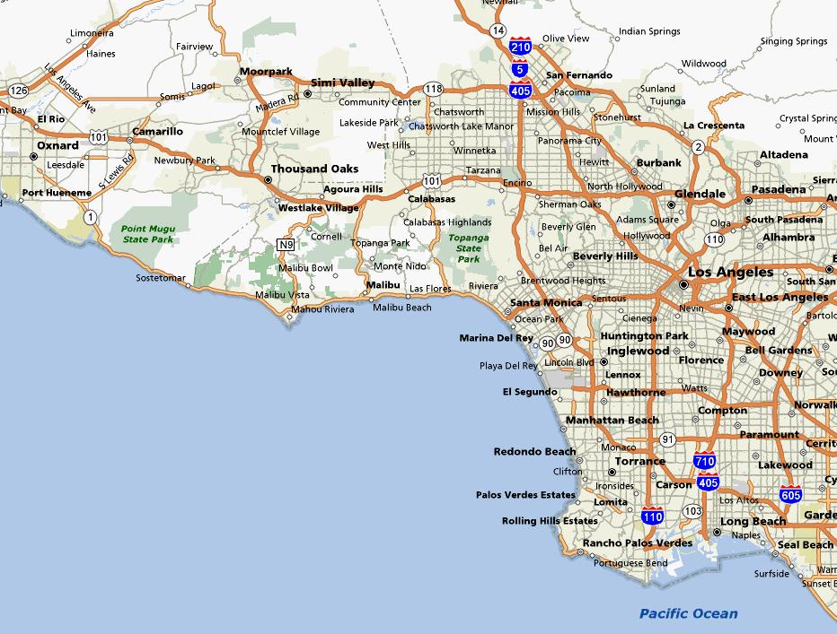 South Bay Los Angeles Map