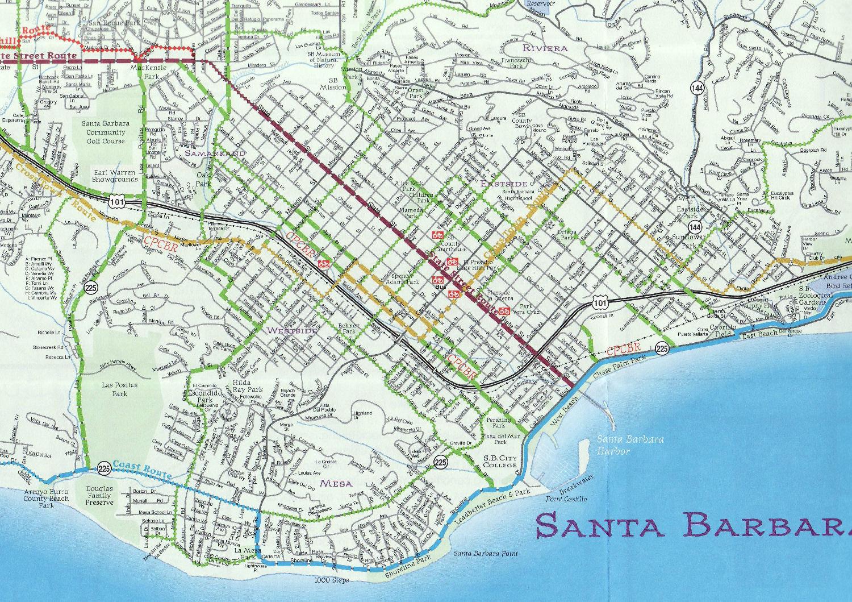 Description of bike rides in California, Tuscany and Devon SANTA BARBARA MAP