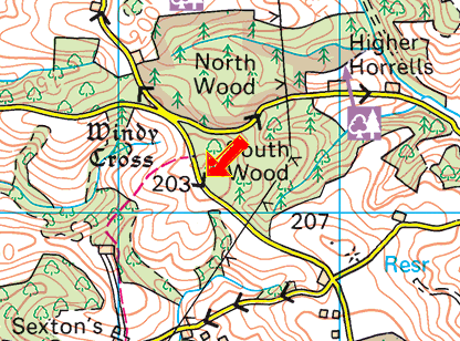 Horizon haldon windy cross map.png
