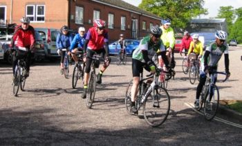 Coast to Coast 100k Audax leaving Uffculme, May 2015