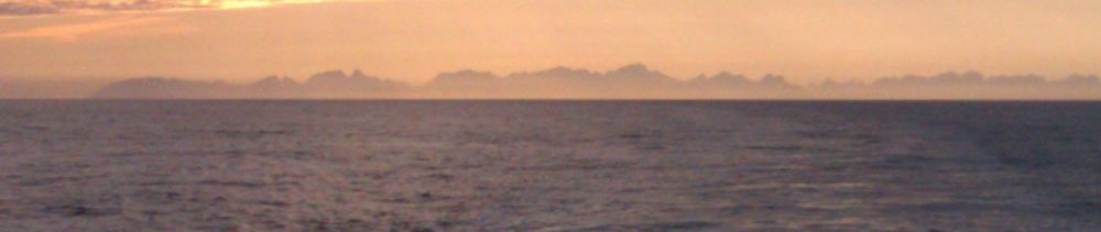 Lofoten from Bodo Ferry at 11pm 5 July 2012