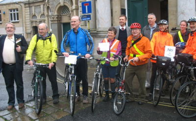 Cyclists Tiverton Town Hall 22 Oct 2012.jpg